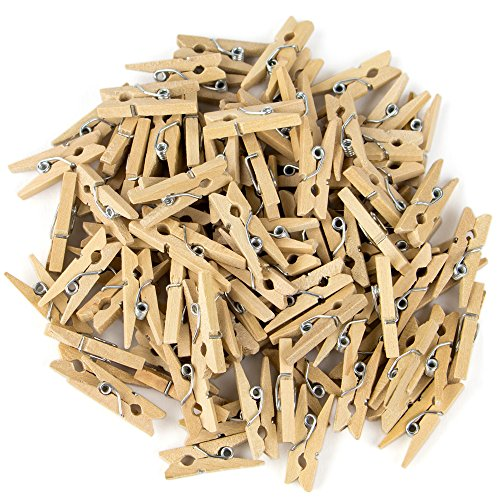 100-pack Minipins Mini Clothespins - Tiny Wooden Clothes Pins for Crafts by Studio Nouveau