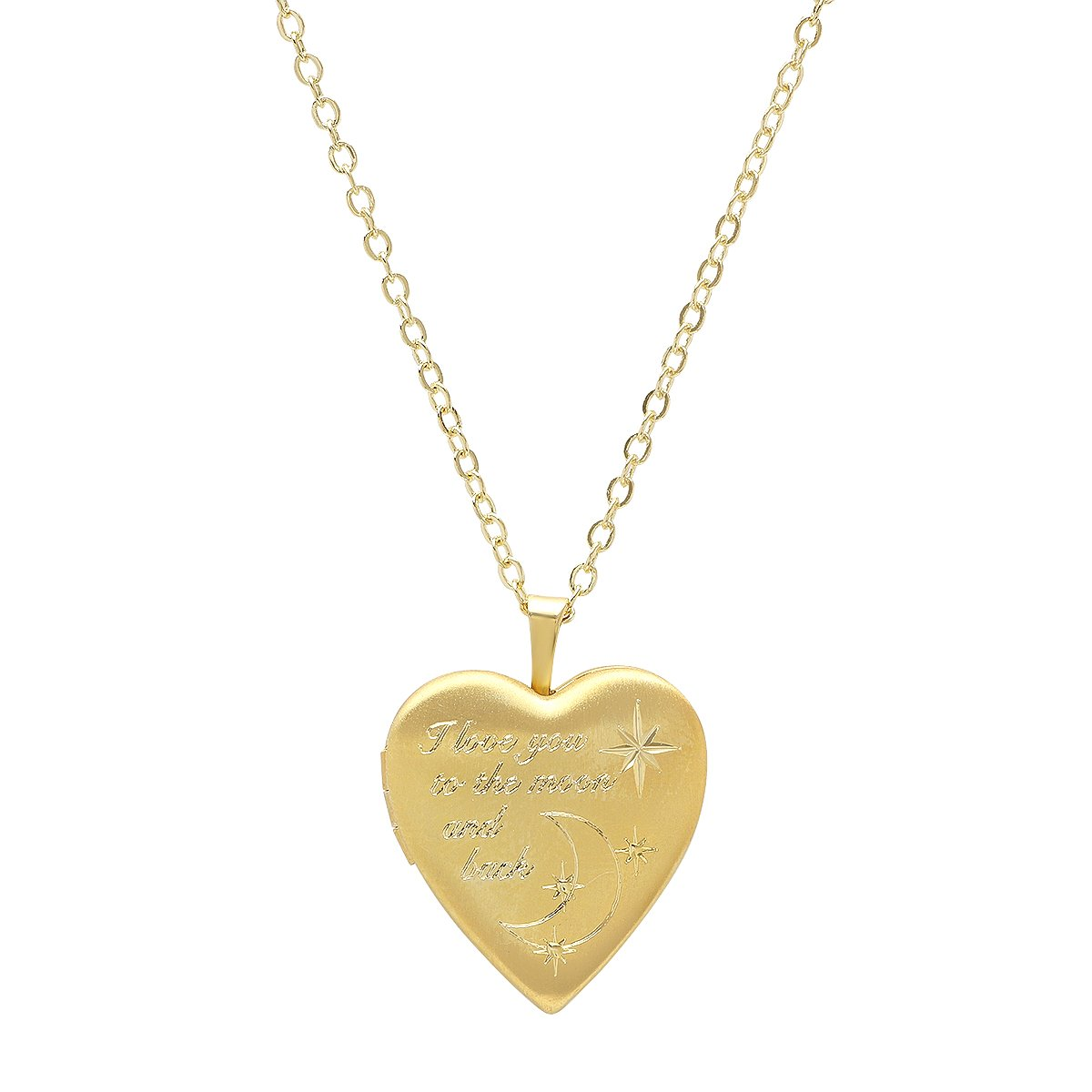 Pori Jewelers 925 Sterling Silver I Love you to the moon and back Heart Locket Necklace in Diamond Cut 18'' chain (Gold)