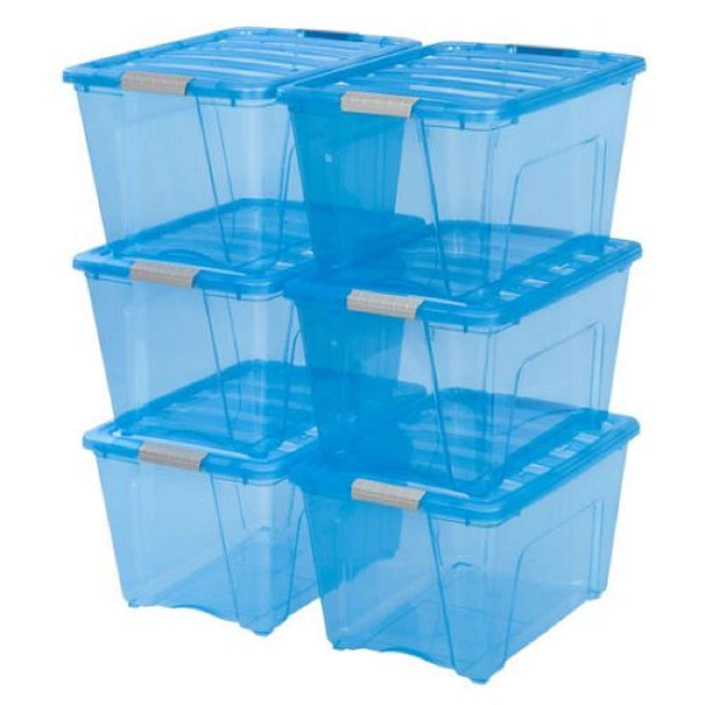IRIS 54 qt Stack and Pull Box, 6-Pack, Trans Blue