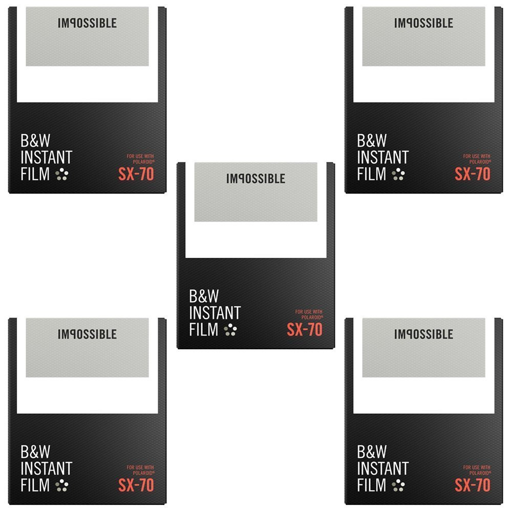 Impossible B&W Film for Polaroid SX-70 Cameras (5 PACK)