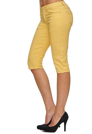 Damen Shorts Sommer Capri Hose 3 4 Länge D1784  Amazon.de  Bekleidung af67f1e465