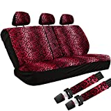 OxGord Leopard Print Cloth Mesh Bench Seat Covers Universal Fit for Car Truck SUV Van, Red