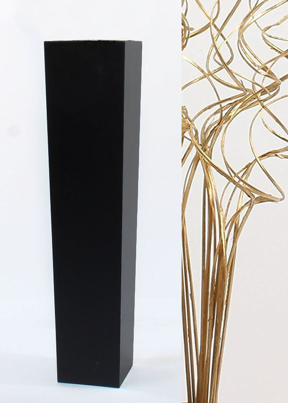 Green Floral Crafts Gold Branches in Slender Tapered Black Floor Vase - 27 in.H x 6 in. Opening
