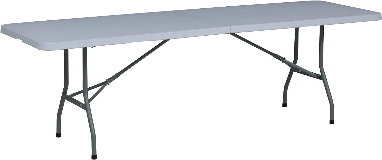 Mesa Plegable Rectangular, 246 x 74 x 74 cm, color blanco, (Tenco TG240)
