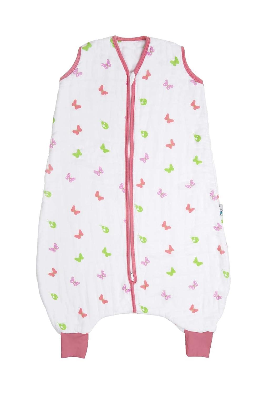 Slumbersac Sacchi Nanna Estivi con i piedi 0.5 Tog - Muslin Girl Butterfly - 3-4 anni/110cm