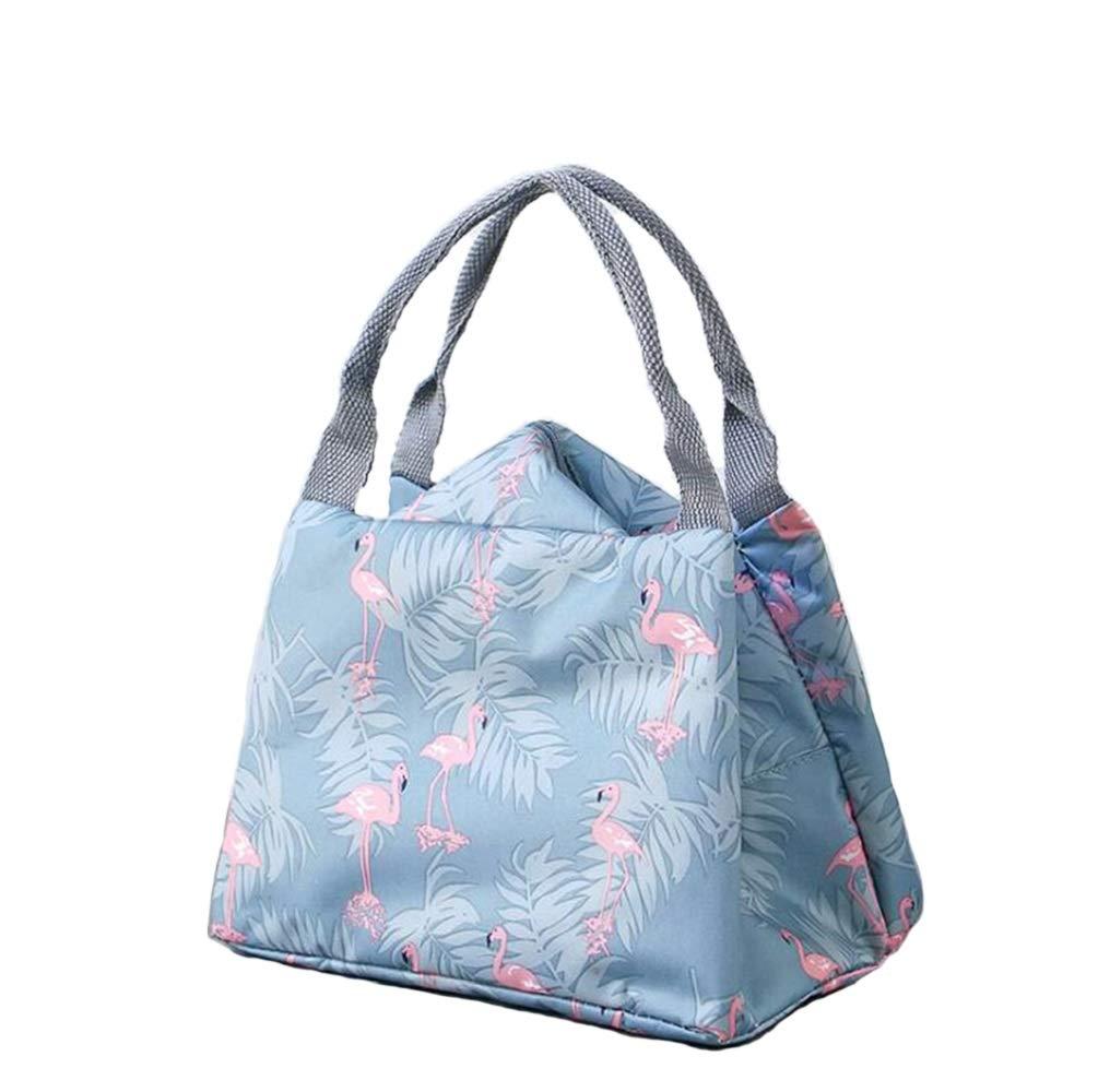 NOVAGO Sac Repas Sac à Déjeuner Isotherme Imperméable Pliable Lunch Bag (Bleu Foncé) SacLunchBoxRondColores