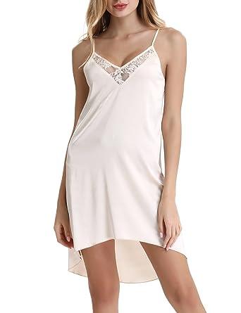 Womens Pajamas Satin Strap Nightgown Sexy Mini Pencial Slip Sleepwear