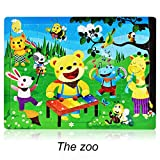 Gbell Cartoon Wood Puzzles Set for Toddlers Kids,...