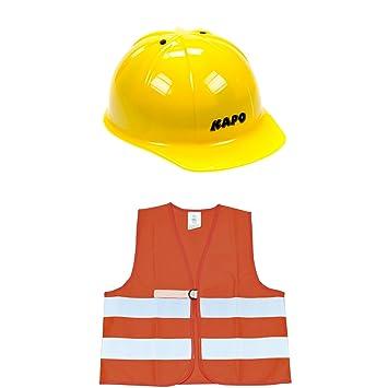 Eduplay 800-077 Casco y chaleco de seguridad para niños, naranja/reflejo/