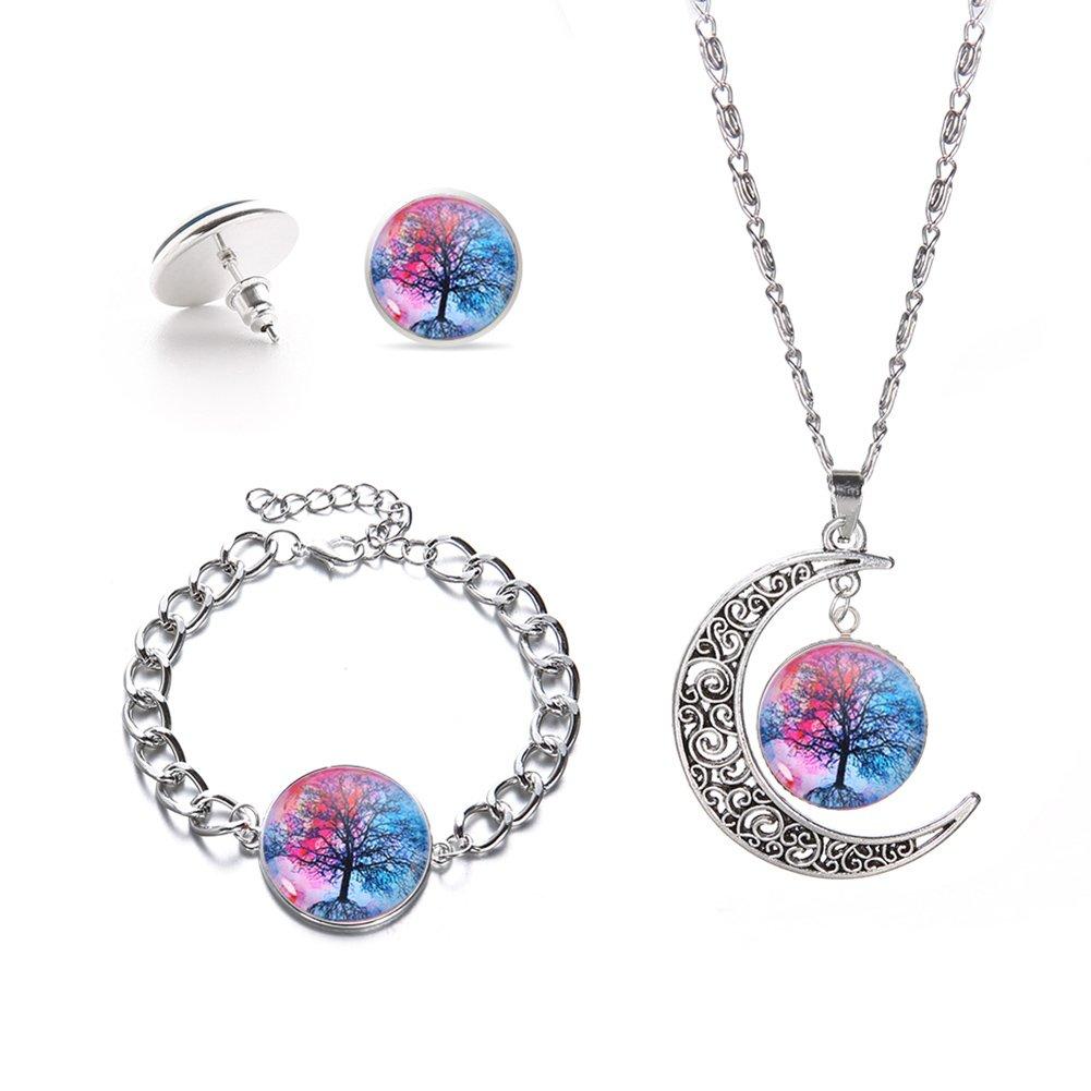 Momangel Cha/îne de cou avec pendentif arbre de vie bracelet et boucles d/'oreille assortis pour femme Taille unique bleu