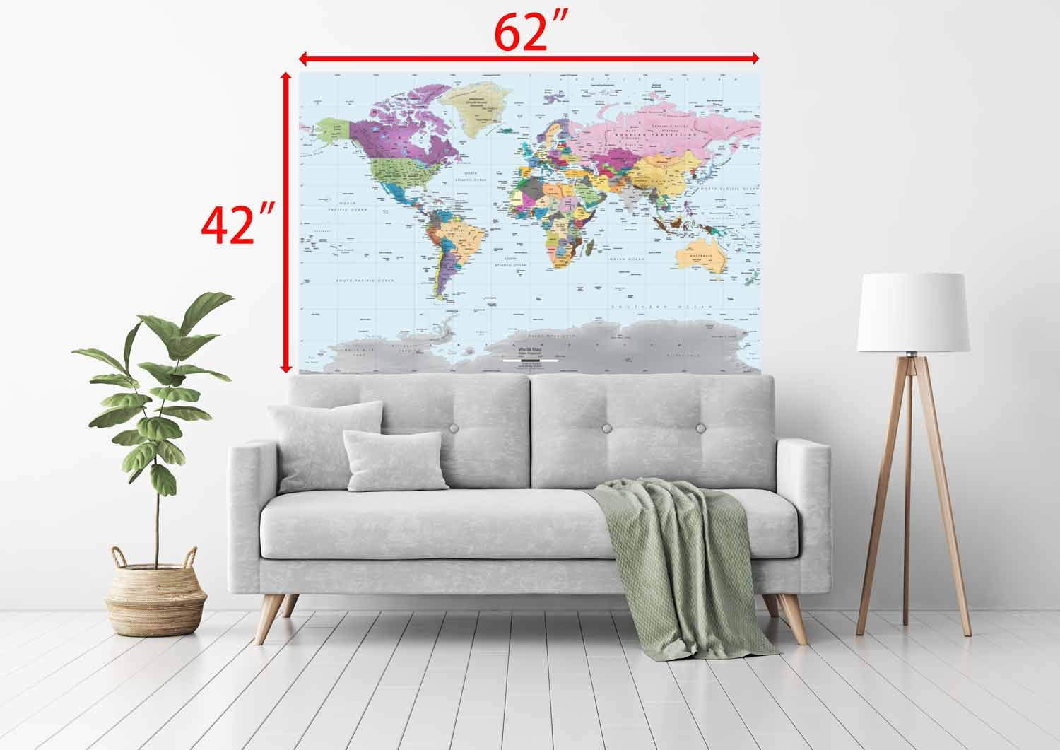Academia Maps World Map Wall Mural - Modern Colorful Map - 62 x 42 One-Piece Premium Self-Adhesive Fabric - Professional-Grade DIY by Academia Maps (Image #3)