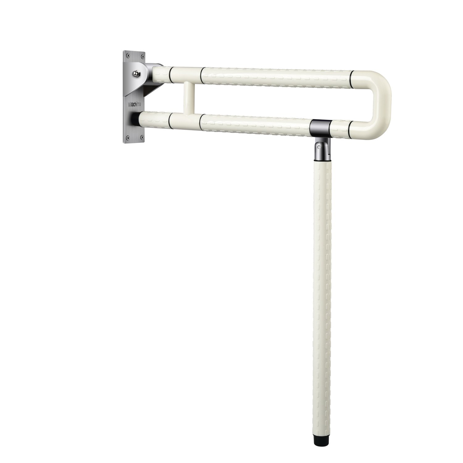 Medical Safety Toilet Grab Bar Handicap Bathroom Seat Support Foldable Skid Resistance Toilet Bathroom Bar Bathroom Hand Grips for Disability Aid and Elderly Assistance (White 75CM)
