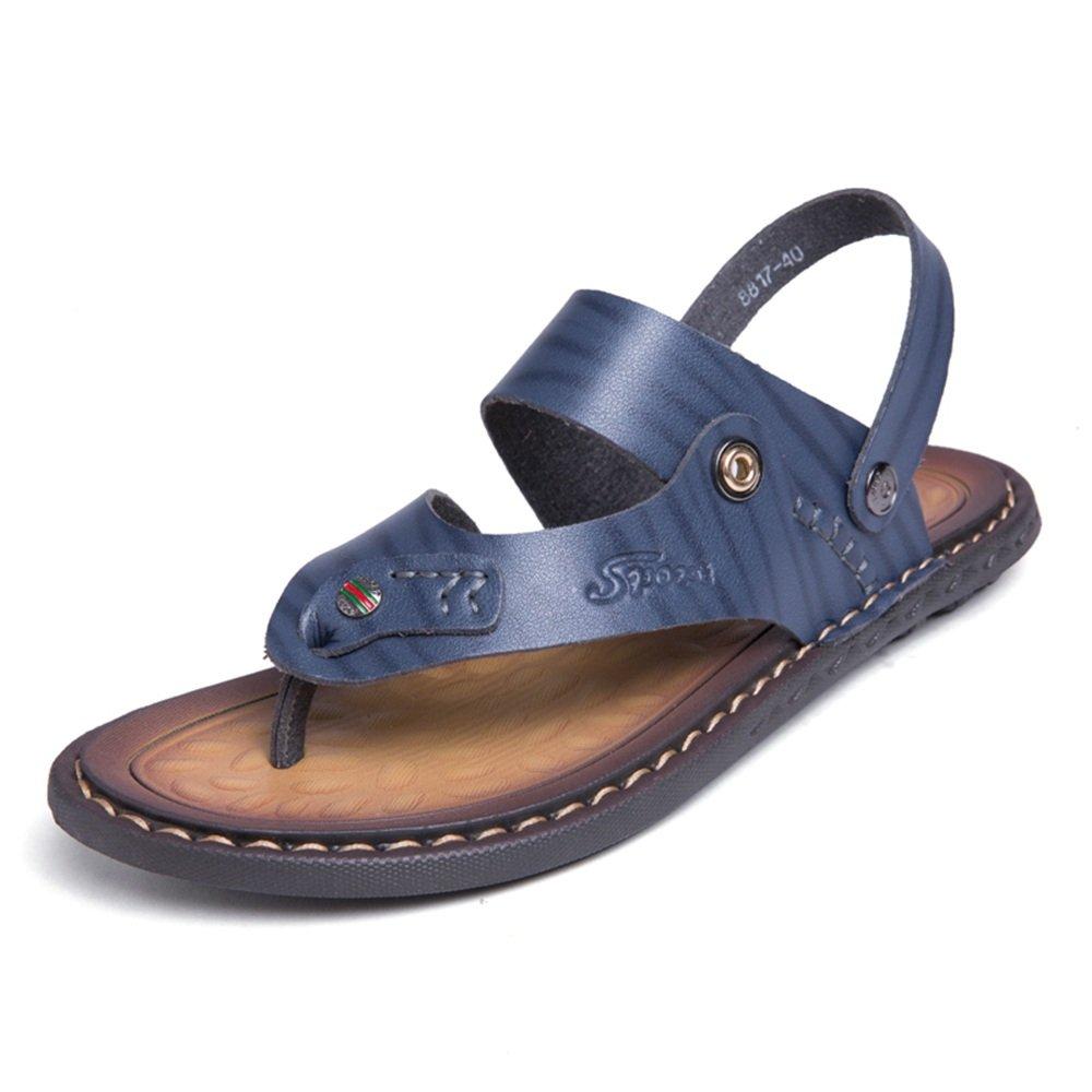 Sandalias de los Hombres de Doble Propósito Casual Clip Sandalias de Playa Zapatilla de Piel de Vaca Deslizador de Gran Tamaño 38 EU|Azul