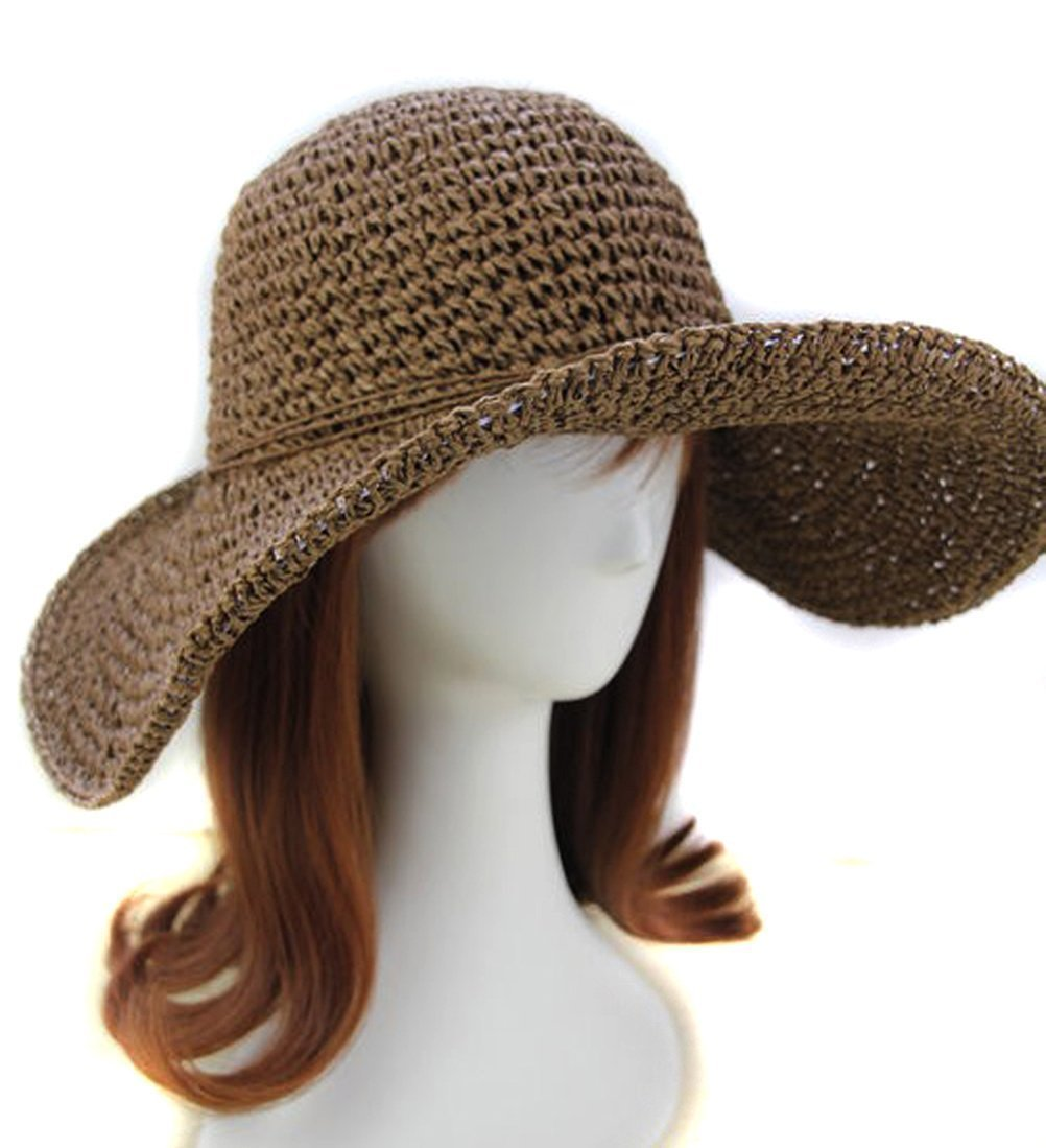 Donne Floppy Cappello da sole in paglia Bohemia estate spiaggia sole visiera cappello per Outdoor viaggio, Coffee