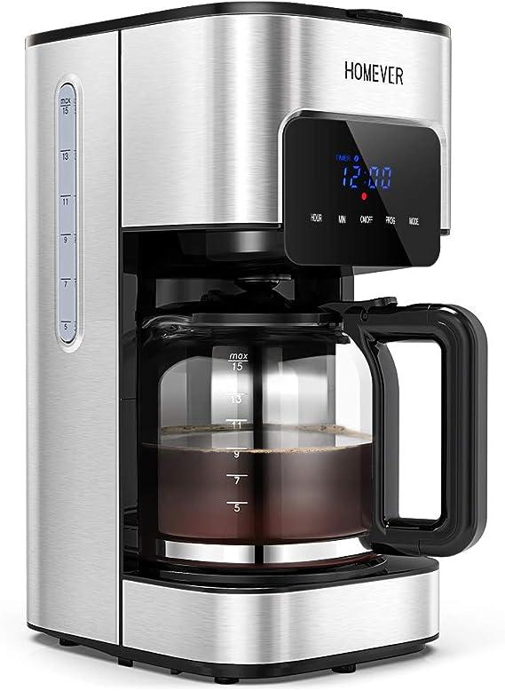 HOMEVER Cafetera con Temporizador, cafetera de Filtro: Amazon.es: Hogar