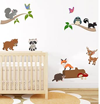 woodland animal nursery wall art sticker baby bedroom wall decor