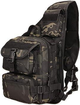 YFNT Tactical Sling Bag Pack Militar Rover Hombro Sling Mochila Crossbody Bolsa para La Caza Camping Senderismo (Camuflaje Nocturno): Amazon.es: Deportes y aire libre