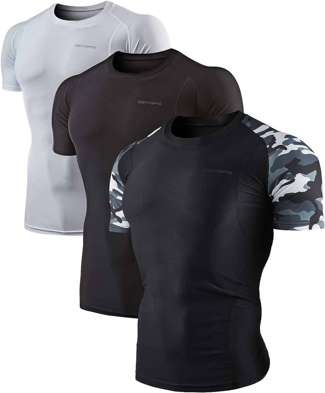 DEVOPS Men's 2~3 Pack Cool Dry Athletic Compression Short Sleeve Baselayer Workout T-Shirts