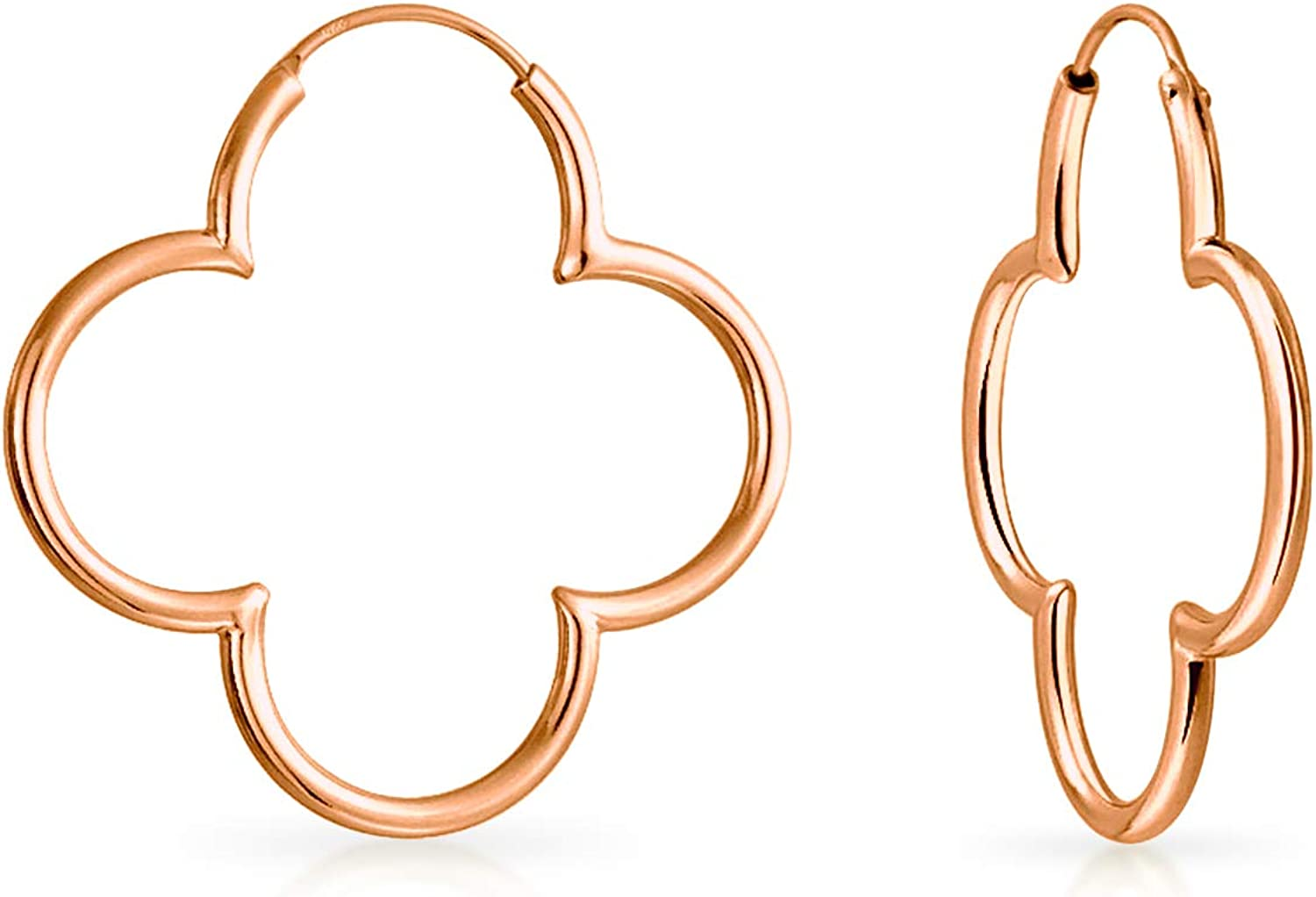 Simple Flower Shaped Thin Tube Endless Clover Hoop Earrings For Women For Teen Rose 14K Gold Plated 925 Sterling Silver