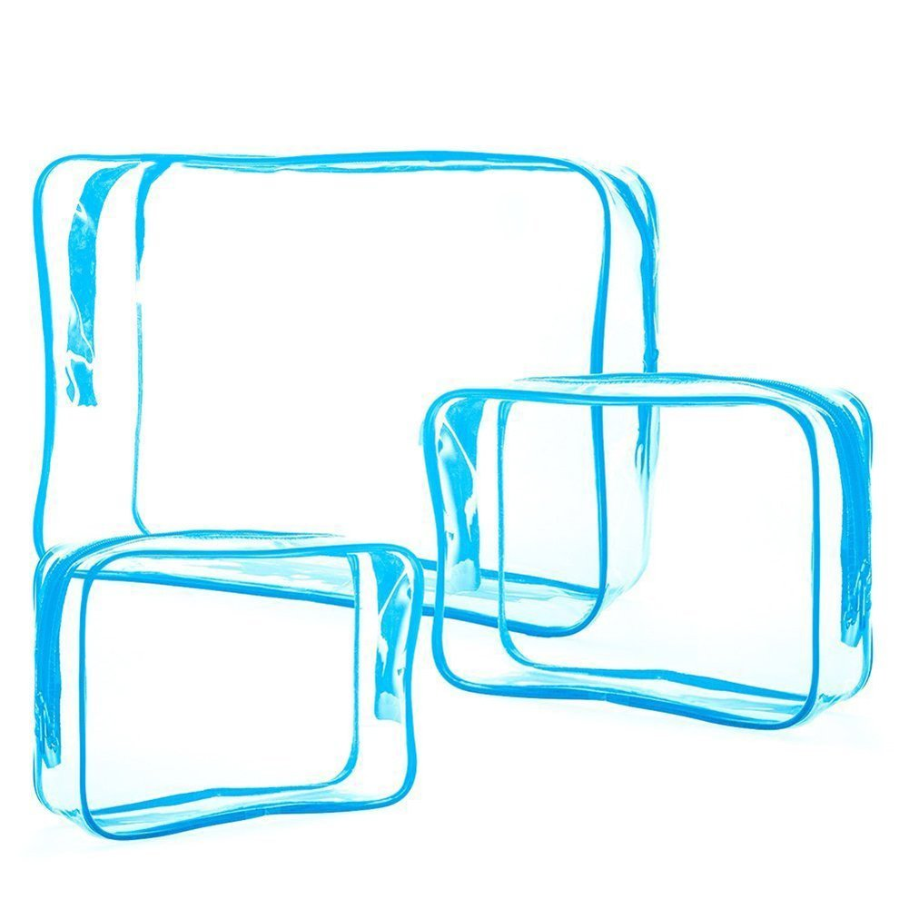 Cdet 3PCS Paquet de stockage transparent en PVC é pais Trousse de maquillage Etanche Sac Pliable Sangle d'Epaule Storage Bag/Travel Packing