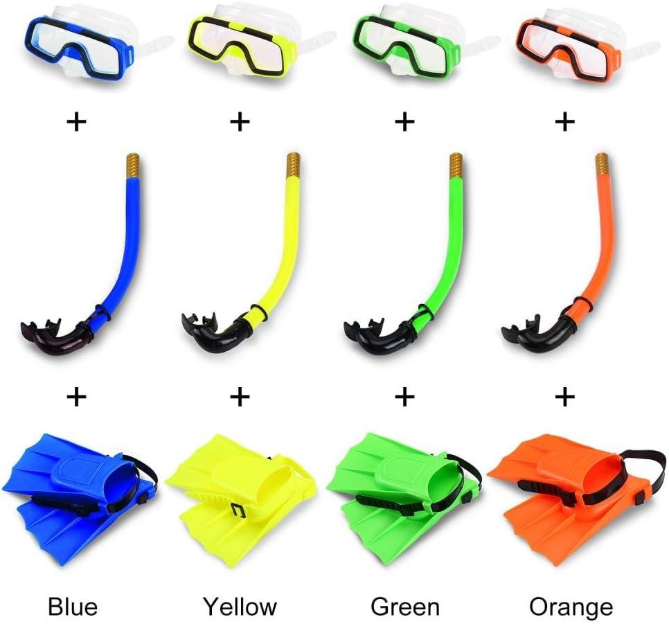 Bnineteenteam in Silicone con Pinne in Silicone Set da Snorkeling per Bambini boccaglio e Maschera Subacquea per Bambini dai 3 ai 4 Anni