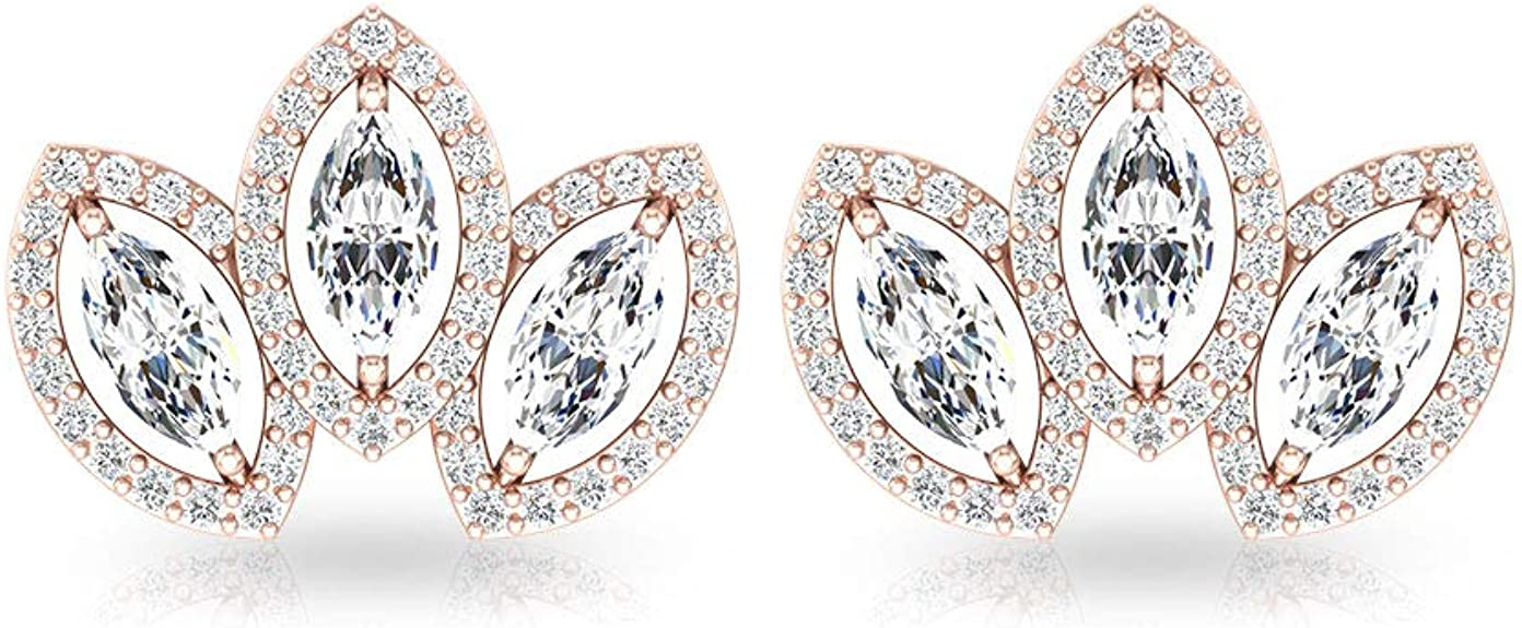 Details about  /14k /& Rhodium Marquise Diamond Heart Post Earrings