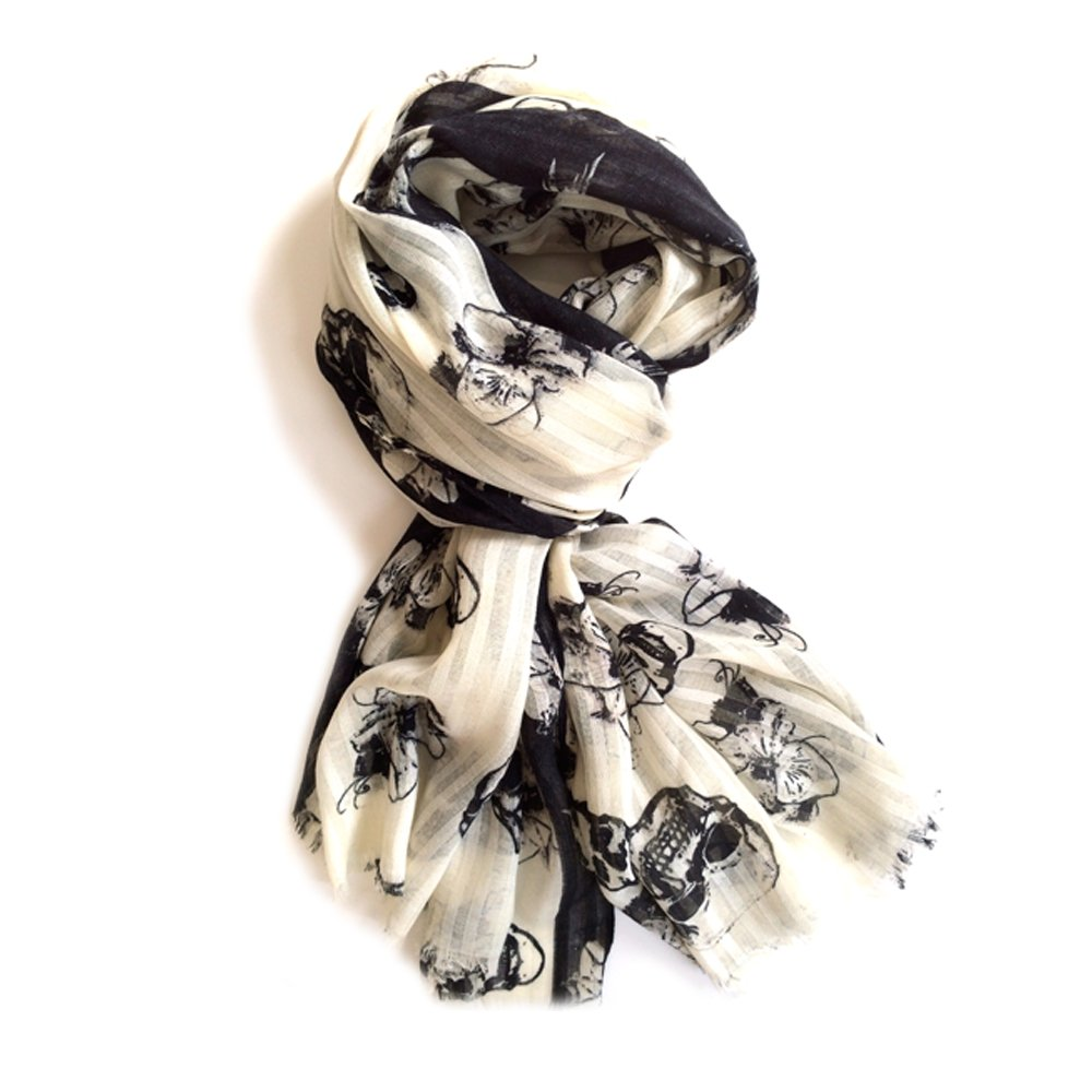 Skulls and Hibiscus Black and White Scarf