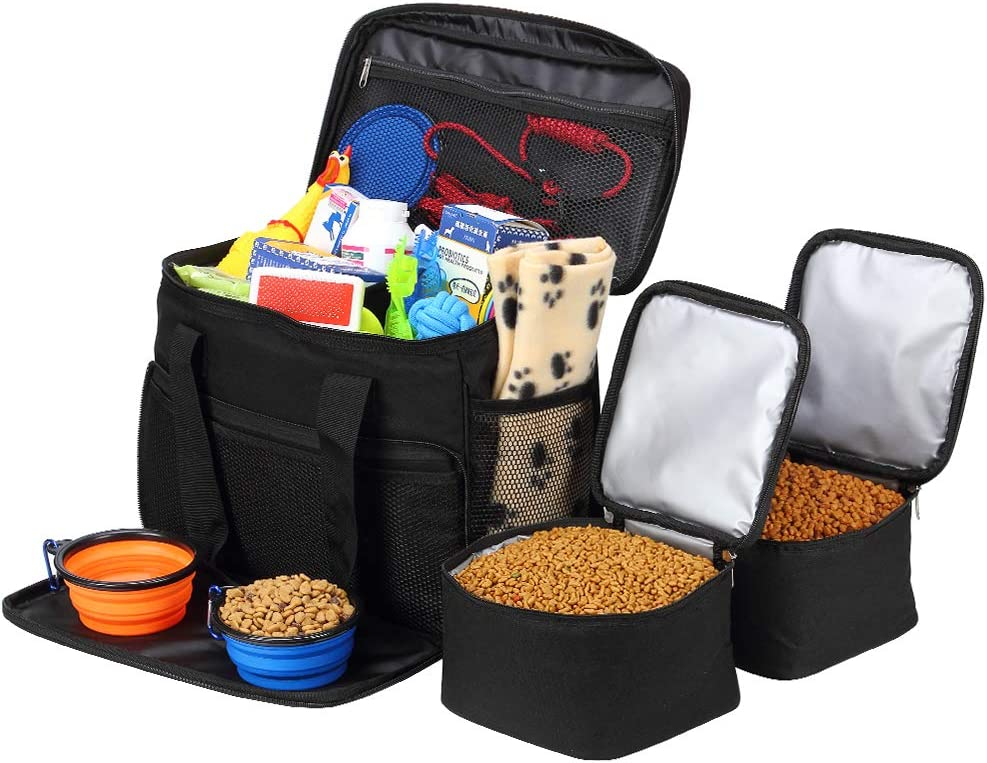 Coopeter Dog Bag to Travel ,Weekend Tote Organizer Bag-Incudes1 Dog Food Travel Bag,2 Dog Tote Bag,2 Pet Silicone Collapsible Bowls.(Black)