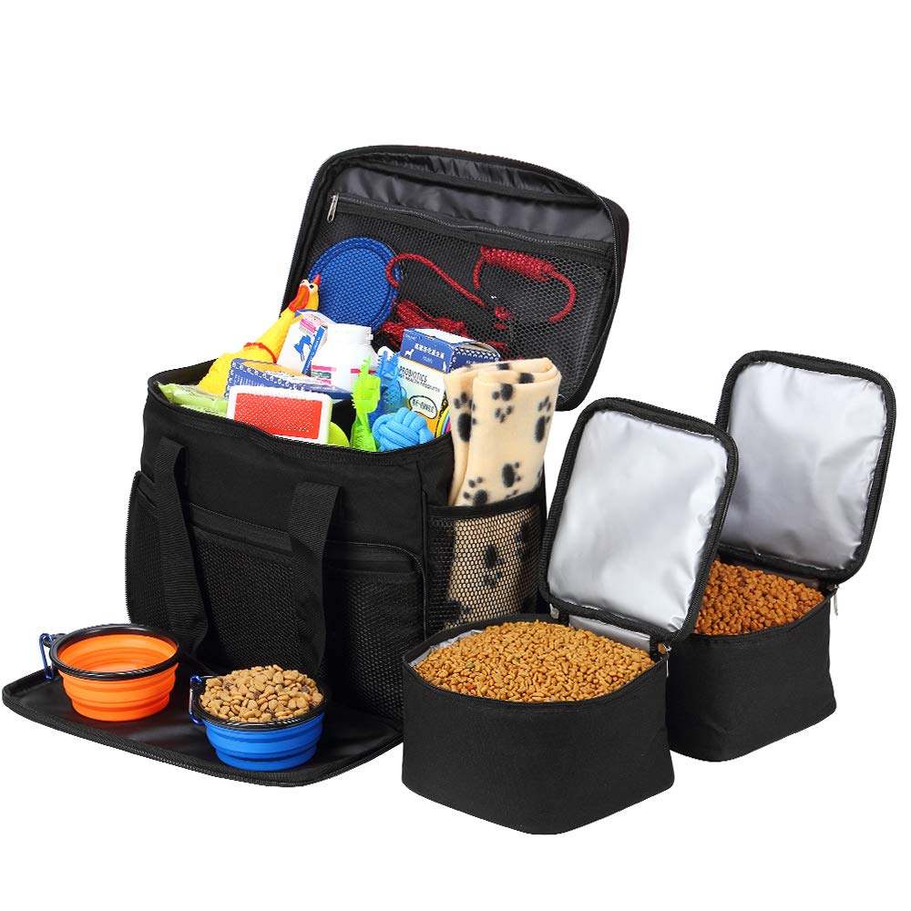 Coopeter Pet Travel Bag for Dog,Weekend Tote Organizer Bag-Includes 1 Dog Tote Bag,2 Dog Food Carriers Bag,2 Pet Silicone Collapsible Bowls.(Black) by Coopeter