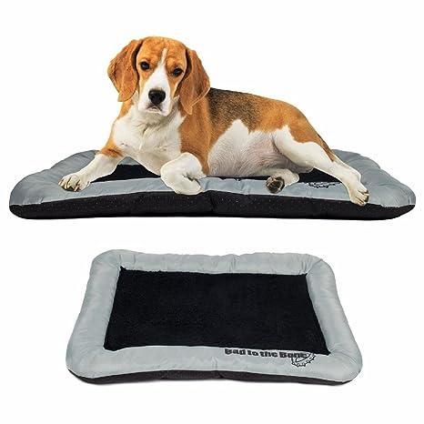 Cama para perro mascota de la perrera jaula con forma de cojín Mat Pad Negro Forro