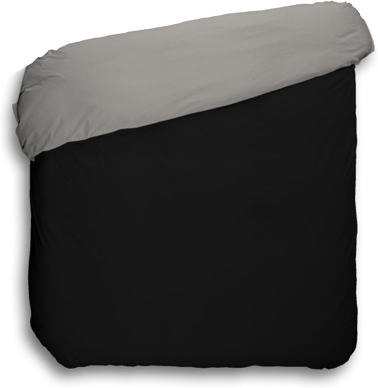 Negro y Gris Play Basic Collection Funda n/órdica Lisa Reversible 150 x 220 cm