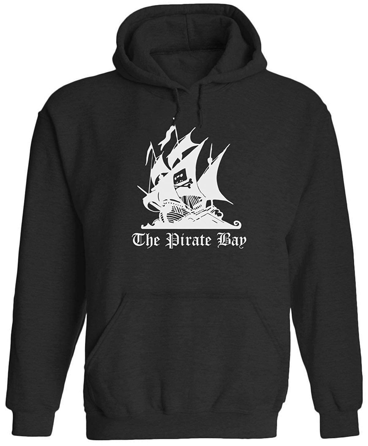 White Pirate Bay Logo Unisex Adult Hooded Pullover Sweatshirt