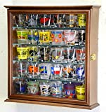 Shot Glasses Display Case Holder Cabinet Wall Rack w/ Mirror Backed and 4 Glass Shelves -Walnut