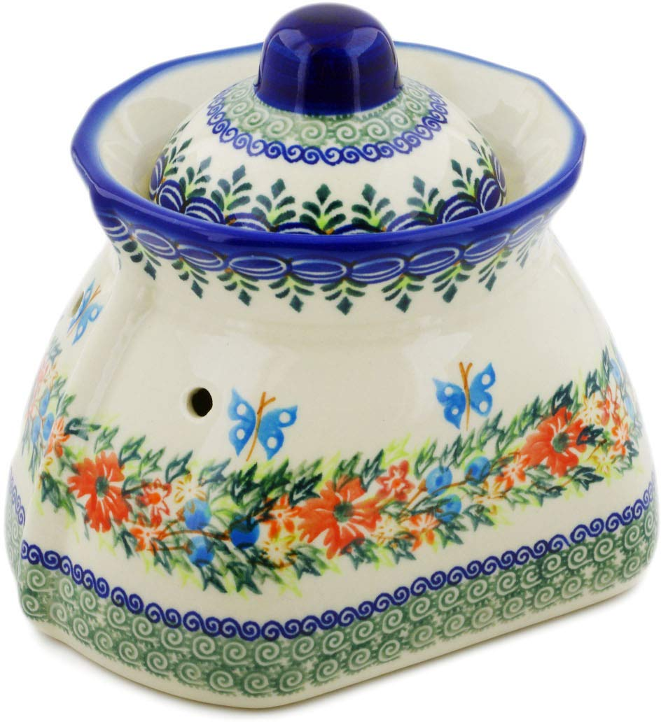 Polish Pottery 7-inch Garlic Jar (Ring Of Flowers Theme) Signature UNIKAT + Certificate of Authenticity by Polmedia Polish Pottery