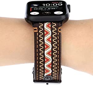 Smarmate Nylon Embroidery Multicolor Irregular Pattern Leather Band and TPU Protective Bumper Case Compatible with 42mm Apple Watch Series 3, 2, 1 (Freestyle 5)