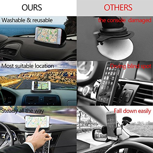Soporte para teléfono celular para automóvil, soporte para teléfono para automóvil para iPhone 7 Plus, soporte para tablero de instrumentos para GPS en vehículo para Samsung Galaxy S8 y otros teléfonos inteligentes y GPS de 3-6,8 pulgadas - Negro