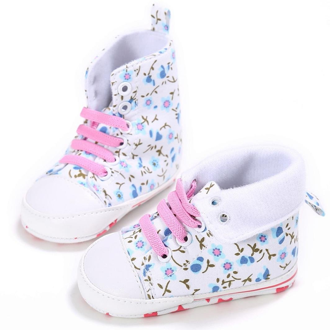 Baby Sneakers Girls,Amiley High-top Infant Toddler Baby Girls Boys Canvas Soild Non-Slip Soft Sole Shoes First Walker Causal Crib Flat Sneakers Lace up Shoes Age:12~18 Month Red, inches:5.1