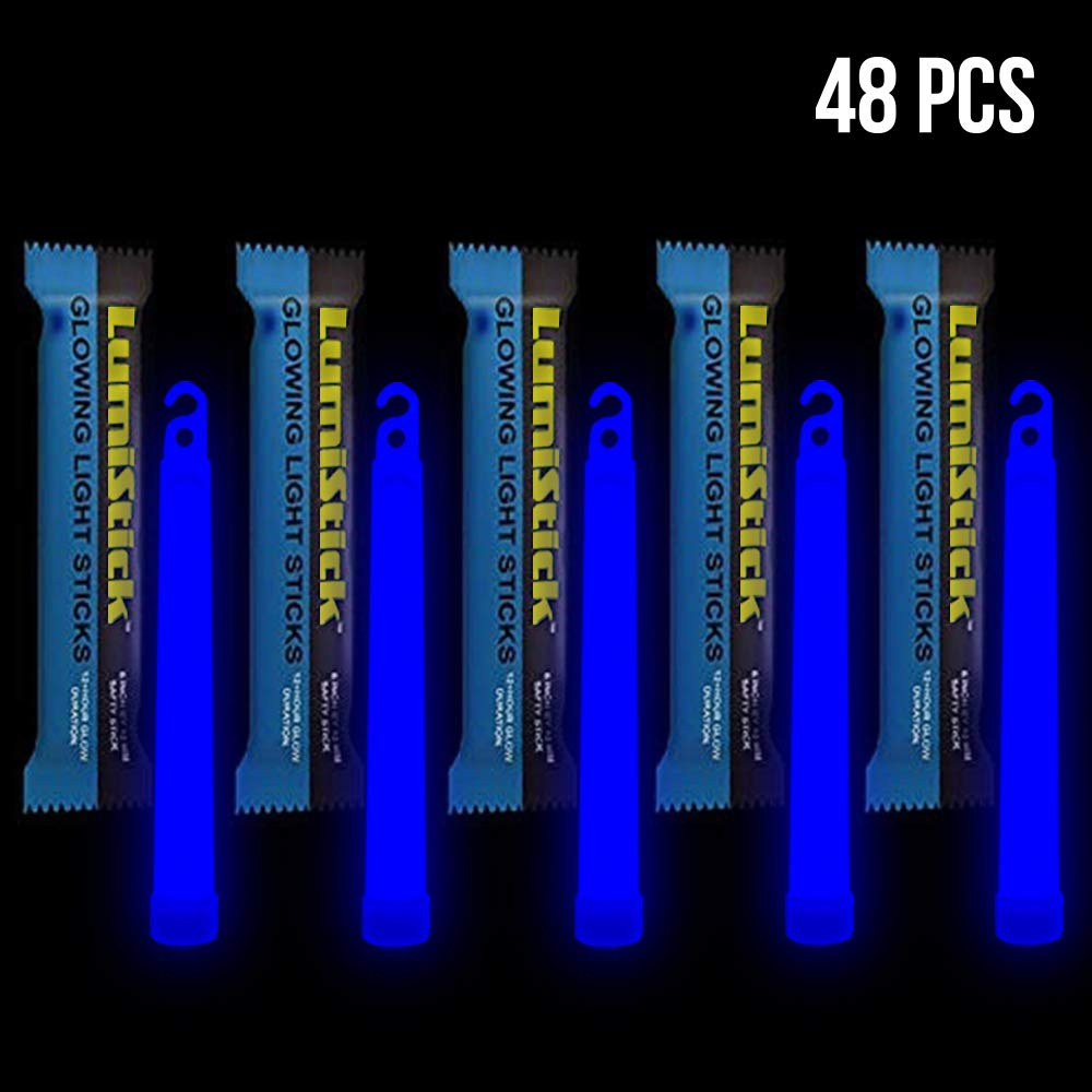 Lumistick 6 Inch Emergency Glow Sticks   15mm Thick Flat Bottom Illuminating Light Sticks   Kids Safe, Waterproof & Non-Toxic Light Up Neon Sticks for Camping & Hiking (Blue, 48 Glow Sticks)