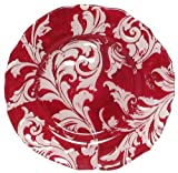 "Glass Ornate French Lily Design Red Platter - 15""D"