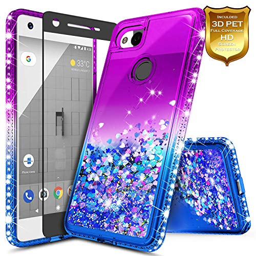 Pixel 2 XL Case w/[Full Cover Premium Soft Screen Protector] NageBee Glitter Liquid Quicksand Waterfall Flowing Sparkle Bling Diamond Girls Cute Compatible with Google Pixel 2 XL (2017) -Purple/Blue
