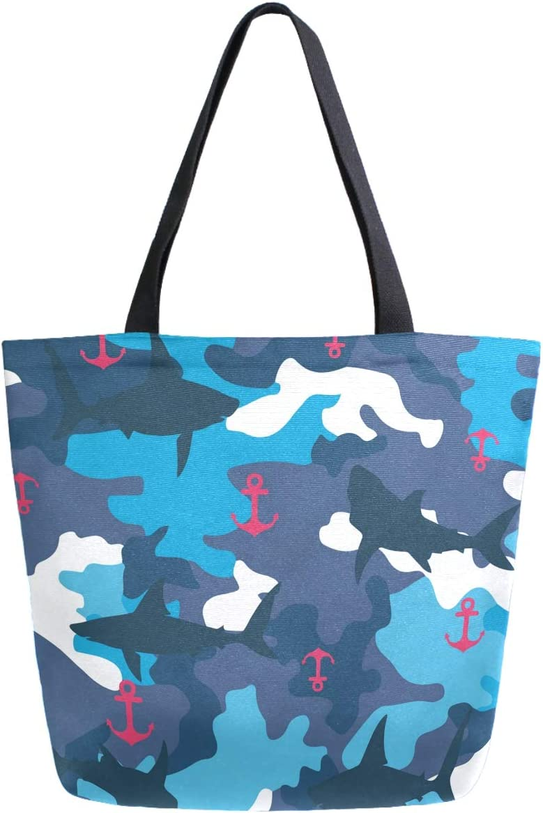 ZzWwR Stylish Blue Camo Sharks Anchors Extra Large Canvas Shoulder Tote Top Handle Bag for Gym Beach Weekender Travel Shopping