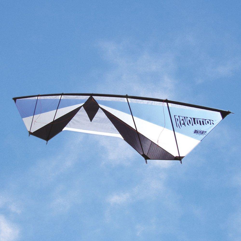 Revolution Blast Sky Blue Silver Black Quad Line Power Stunt Kite Made in the US