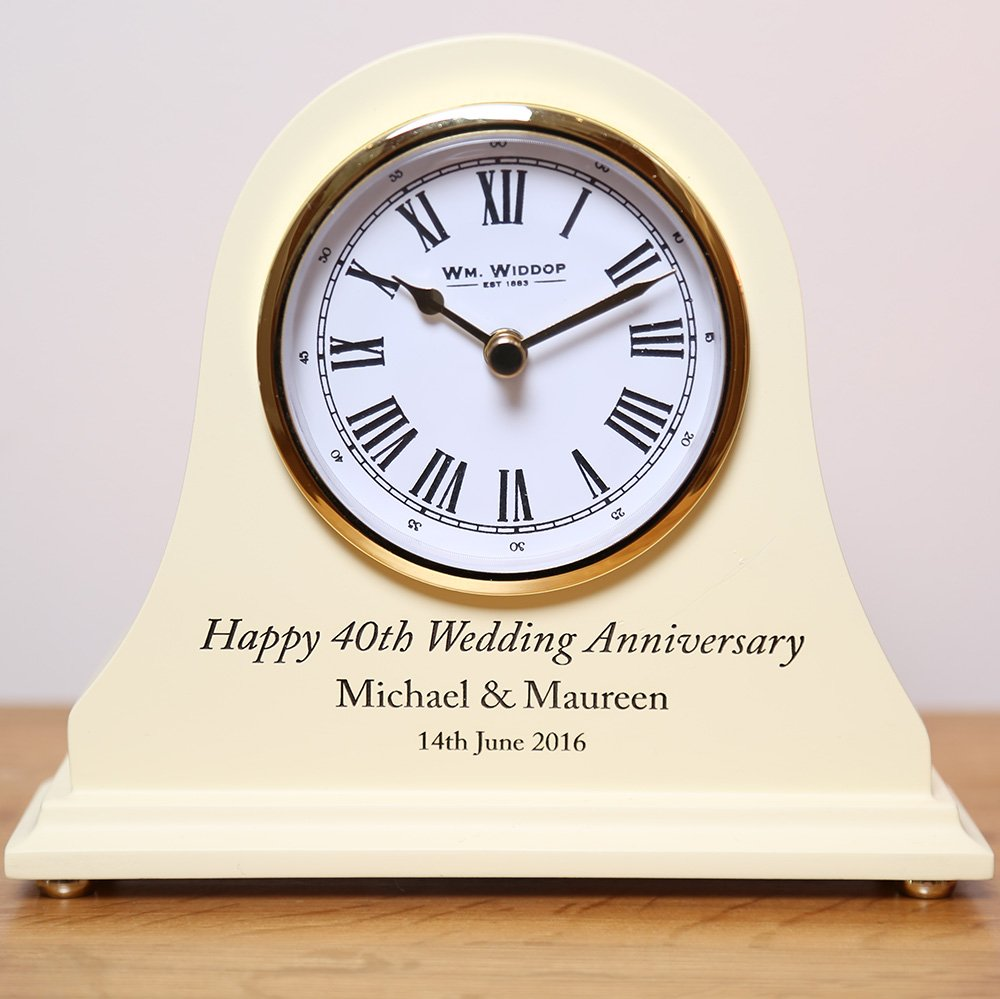 Personalised Oak 50th Anniversary Clock Engraved Golden Wedding