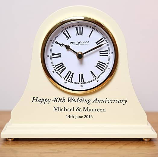 30th Wedding Anniversary Gifts Engraved Wooden Clock Pearl