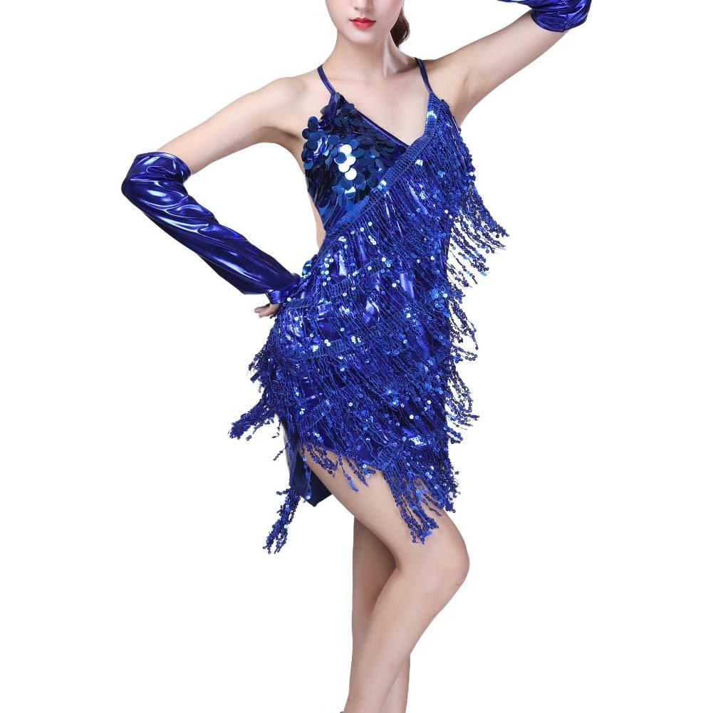 Hongyuangl Femmes Robe De Danse Latine sans Manches Col V V/êtements De Danse Sequin Fringe Tassel Rumba Jupe