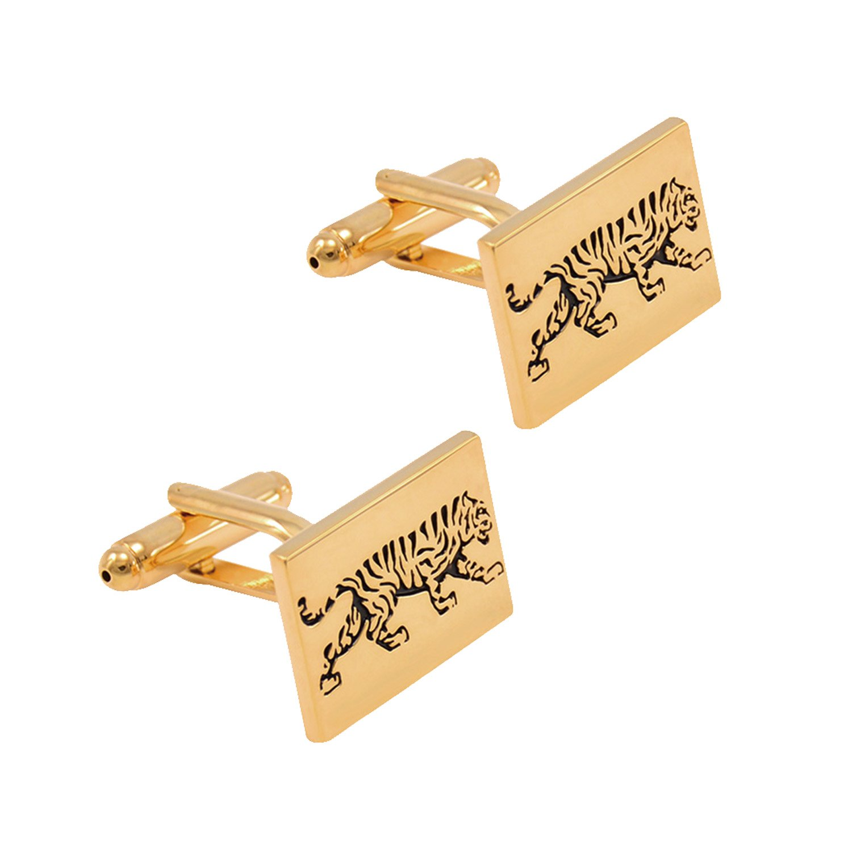 Fashion personalized custom cufflinks golden mighty tiger pattern casual French shirt cufflinks Daptsy