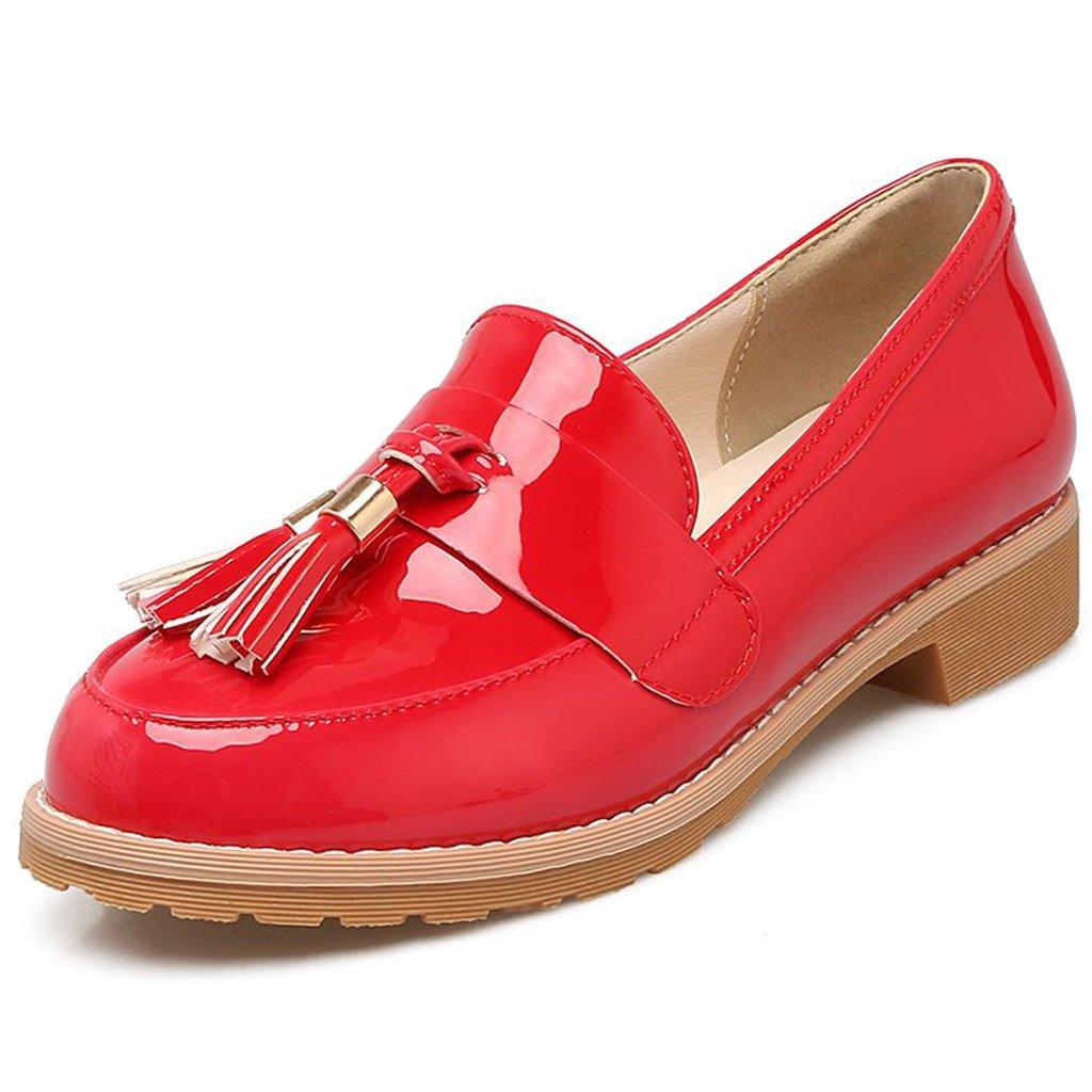 Kaloosh Women's Sweet Leisure Patent Leather Tassel Shoes Block Low Heel Penny Loafers XIimo6
