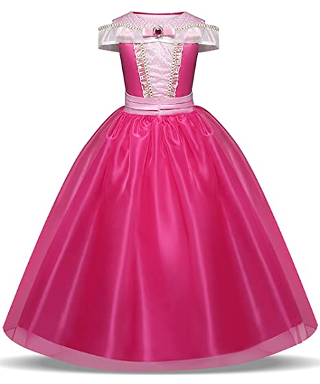 e5c123b97d598 LENSEN Tech Girls Princess Aurora Costume Drop Shoulder Halloween Party  Long Dress (Hot Pink