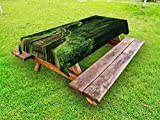 Ambesonne Jungle Outdoor Tablecloth, Freshness Tropical Thailand Forest with Wooden Bridge Foliage Meditation Calm Landscape, Decorative Washable Picnic Table Cloth, 58 X 84 inches, Green