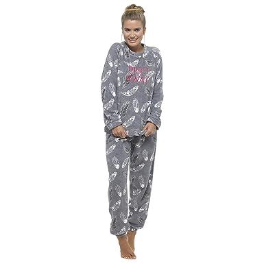 Juego de pijama para mujer de forro polar suave, suave, térmica, con lazo de regalo: Amazon.es: Ropa y accesorios